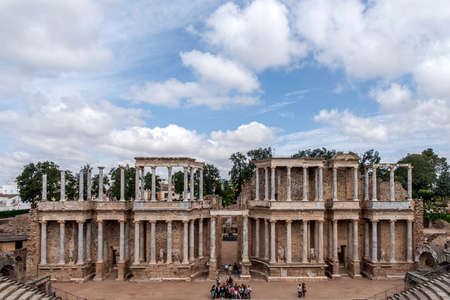 architecture monumental: Mrida, ancient Roman theater in the city Stock Photo