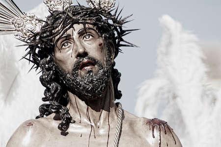 jesus face: Holy Week in Seville, brotherhood of Jesus Stripped