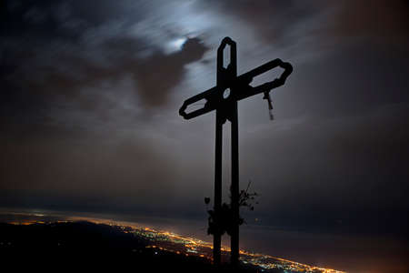 crossings: Cross Juanar night with the lights of Marbella  Stock Photo