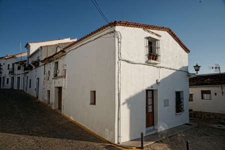 huelva: Streets of the town of Aracena with rural architecture in the buildings, Huelva