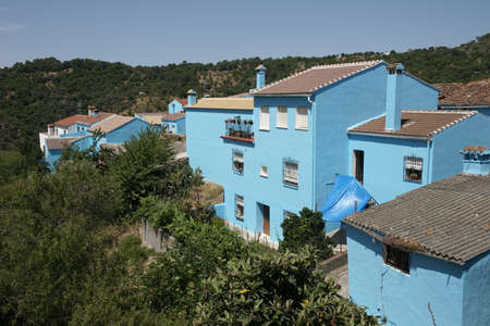 town planning: Blue Jzcar village in the province of Mlaga Stock Photo