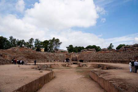 architecture monumental: remains of the Roman amphitheater Mrida, Spain