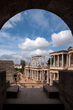 architecture monumental: beautiful Roman theater in the city of Mrida, Extremadura