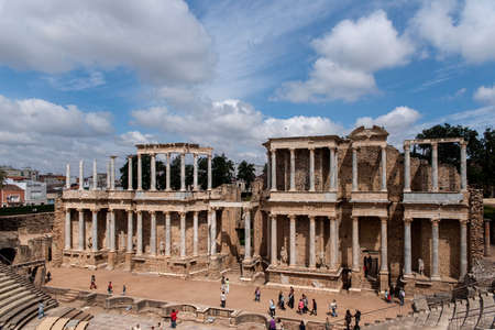 architecture monumental: Beautiful Roman theater in the city of Merida, Extremadura