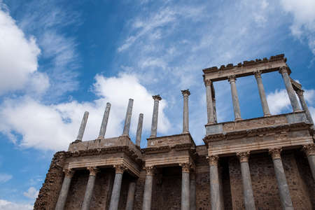 architecture monumental: Roman theater in the city of Mrida, Extremadura