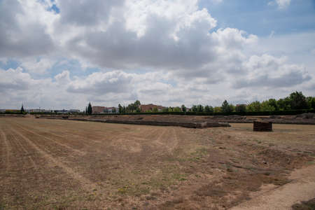 architecture monumental: Remains of ancient Roman circus Mrida, Spain Stock Photo