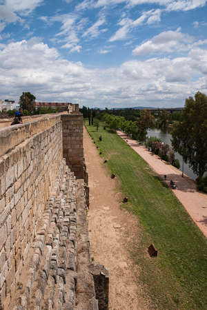 architecture monumental: Old wall of the citadel of Mrida, Spain Stock Photo