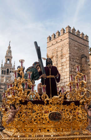 procession of the brotherhood of Peace in the Holy Week in Seville