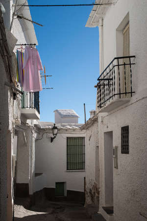 town planning: streets of the town of Capileira in the Alpujarras of Granada, Spain