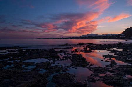 beautiful sunset on the coast of Marbella, M�laga Stock Photo