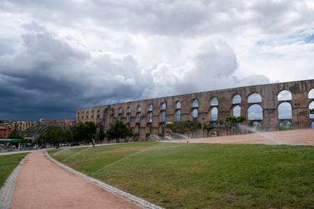 aqueduct: Amoreira Aqueduct in Elvas Alentejo Portugal Stock Photo