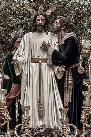 brotherhood: brotherhood of the kiss of Judas in the celebration of Holy Week in Seville, Spain Editorial