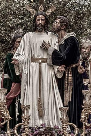 fraternidad: hermandad del beso de Judas en la celebración de la Semana Santa de Sevilla, España Editorial