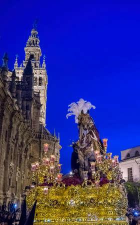 fraternidad: Pase misterio de la hermandad de Triana, Semana Santa de Sevilla Foto de archivo