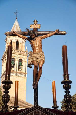 fraternidad: Burgos hermandad de Cristo, Pascua en Sevilla Foto de archivo