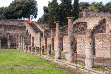 edification: Ruins of ancient city of Pompeii in Italy