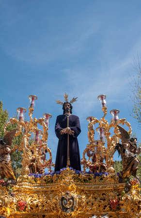 brotherhood: Cautivo de la Hermandad de Santa Genoveva, Pascua en Sevilla Foto de archivo