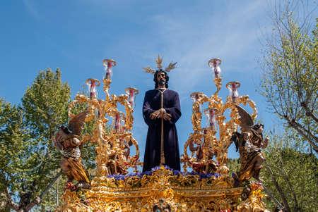 fraternidad: Cautivo de la Hermandad de Santa Genoveva, Pascua en Sevilla Foto de archivo