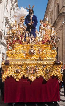 fraternidad: hermandad cautivo de St. Paul, Semana Santa de Sevilla Foto de archivo