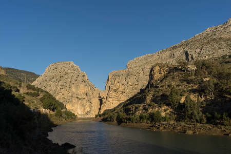 jet stream: views of the Gaitanes gorge where the Caminito del Rey, Ardales is located, Mlaga