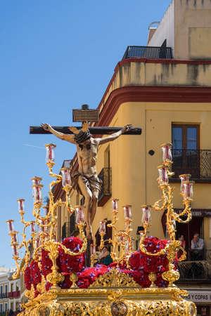 brotherhood: Pass mystery of the brotherhood of San Bernardo, Holy Week in Seville Stock Photo