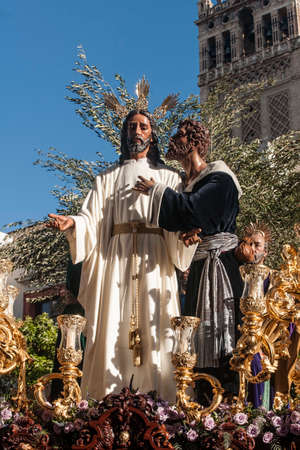 holy week in seville: brotherhood of the kiss of Judas, Holy Week in Seville, Spain