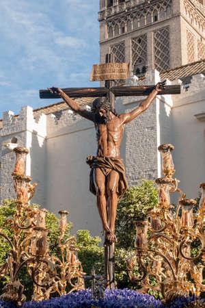 brotherhood: Jesús en la cruz, Semana Santa de Sevilla, hermandad Javieres Foto de archivo