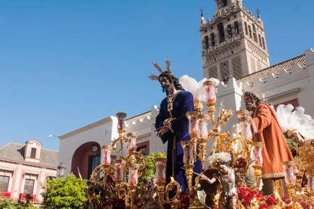 Shackled Jesus, Easter in Seville, brotherhood of captive San Pablo Stock Photo