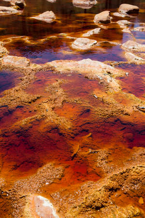 huelva: Waters of the river Tinto with the color red, Huelva Stock Photo