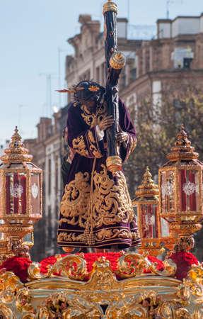 brotherhood: procesión de la Hermandad de San Roque, en la Semana Santa de Sevilla Foto de archivo