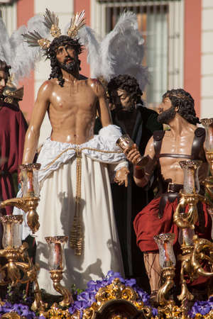 holy week in seville: Holy Week in Seville, brotherhood Jesus stripped Stock Photo
