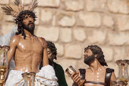 brotherhood: Holy Week in Seville, brotherhood Jesus stripped Stock Photo