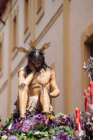 humildad: cena de hermandad, Pascua de Sevilla Jes�s de la Humildad y paciencia Foto de archivo