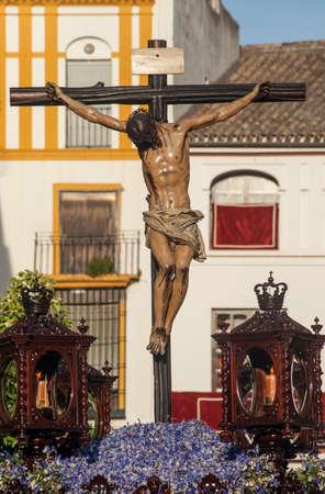 fraternidad: la muerte de Jess, Burgos hermandad de Cristo, Pascua en Sevilla Foto de archivo