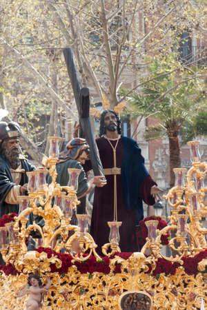 brotherhood: procesión de la hermandad de la Paz en la Semana Santa de Sevilla