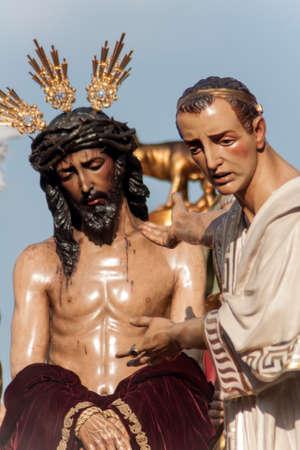 brotherhood: Jesus before Pilate, Holy Week in Seville, Brotherhood of San Benito Stock Photo