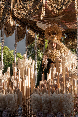 fraternidad: Procession of the Brotherhood of Rocio Holy Week in Seville