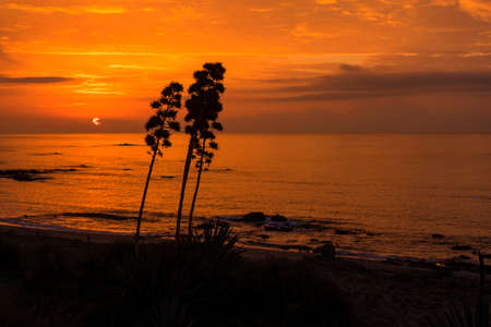 sol: Beautiful sunrise on the Costa del Sol of Mlaga, Andalusia Stock Photo