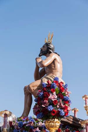 fraternidad: Paso de misterio de la Hermandad de la Estrella de la Semana Santa de Sevilla Foto de archivo