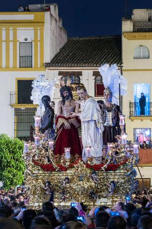 fraternidad: Jes�s ante Pilato, Semana Santa de Sevilla, Hermandad de San Benito Foto de archivo