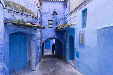 views of the streets of the medina of Chefchaouen in Morocco