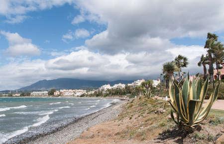 beaches of spain: coast beaches of Estepona on the Costa del Sol, Spain Stock Photo