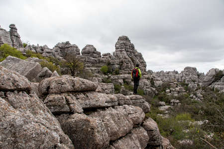 admire: WHO admire the wonders of nature in the Torcal de Antequera, Malaga Stock Photo