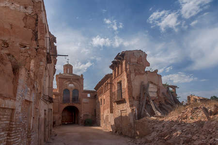 bombing: Belchite village destroyed by the bombing of the civil war in Spain