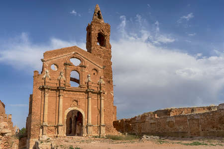 spanish civil war: Ruins Belchite village destroyed by the bombing of the Spanish Civil War