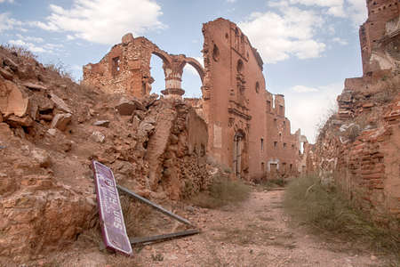 Ruins of the village of Belchites destroyed by the bombing of the Spanish civil war