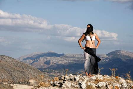 Arabs traits woman in a beautiful landscape
