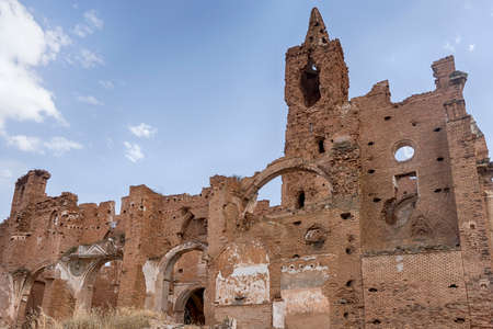 Abandoned city of Belchite after the bombings of the Spanish Civil War Stock Photo