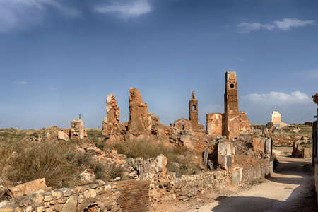 Abandoned city of Belchite after the bombings of the Spanish Civil War. Editorial