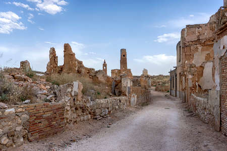 Abandoned city of Belchite after the bombings of the Spanish Civil War. Stock Photo